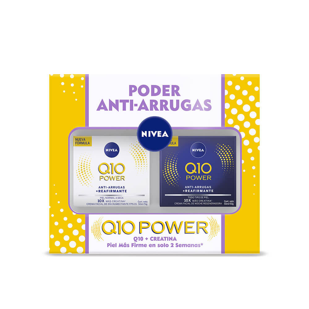nivea pack q10 power crema facial dia piel normal 50 ml + crema facial noche regeneradora 50 ml x 1 pack mamá