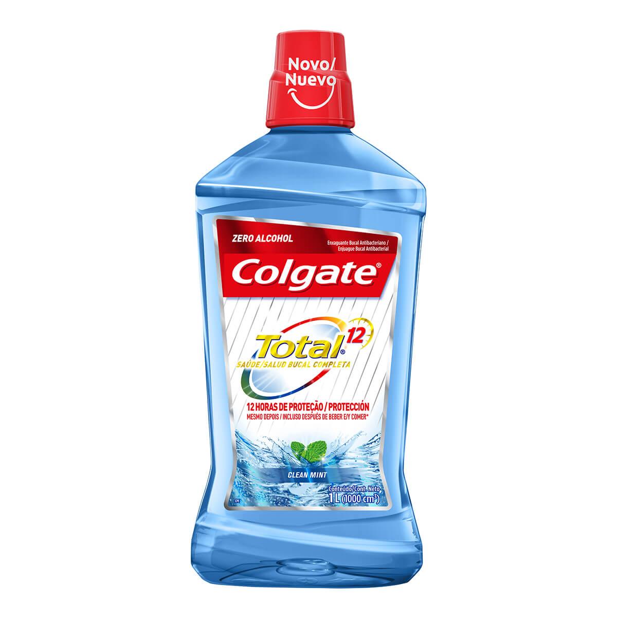 colgate enjuague bucal total 12 zero alcohol clean mint x 1000 ml
