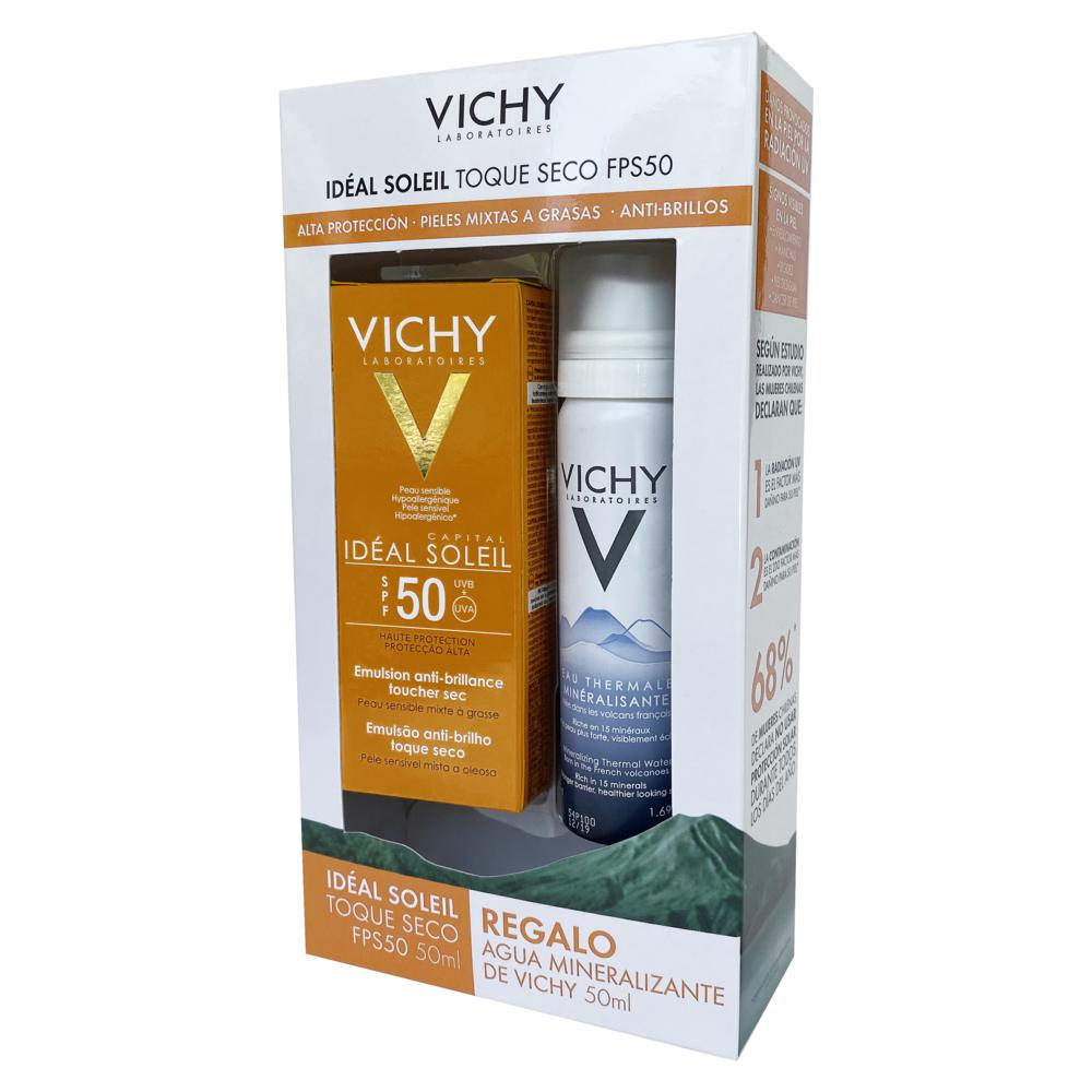Vichy Pack Protector Solar Ideal Soleil Toque Seco FPS 50 + Agua Termal x 1 Pack