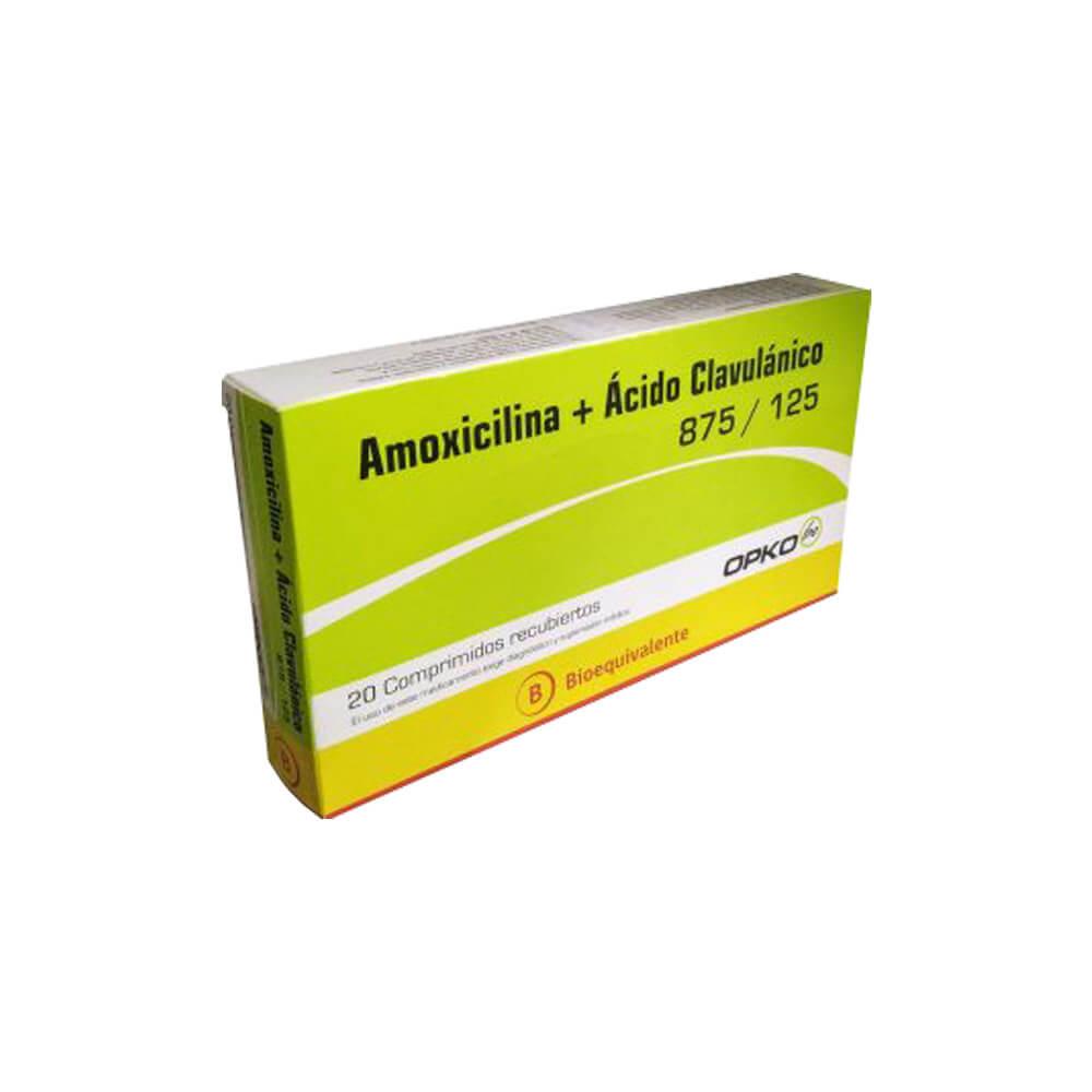 amoxicilina 875 mg + acido clavulanico 125 mg x 20 comprimidos recubiertos