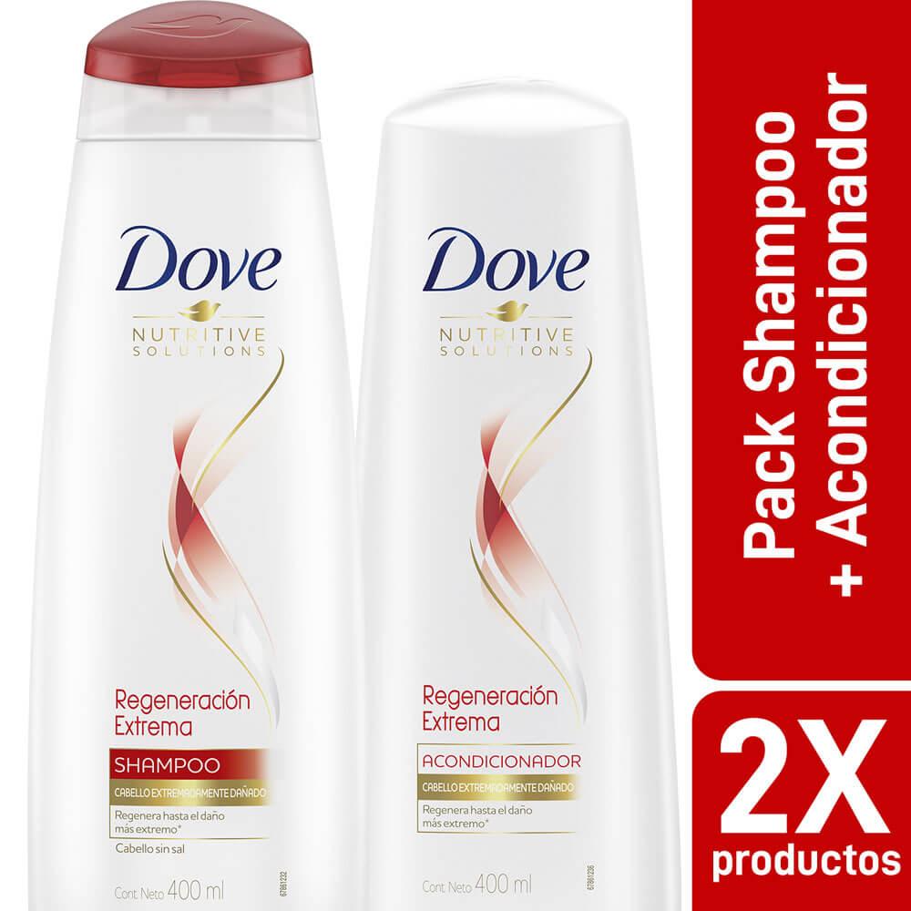 dove pack shampoo + acondicionardo reconstrucción completa 400 ml x 2 unidades
