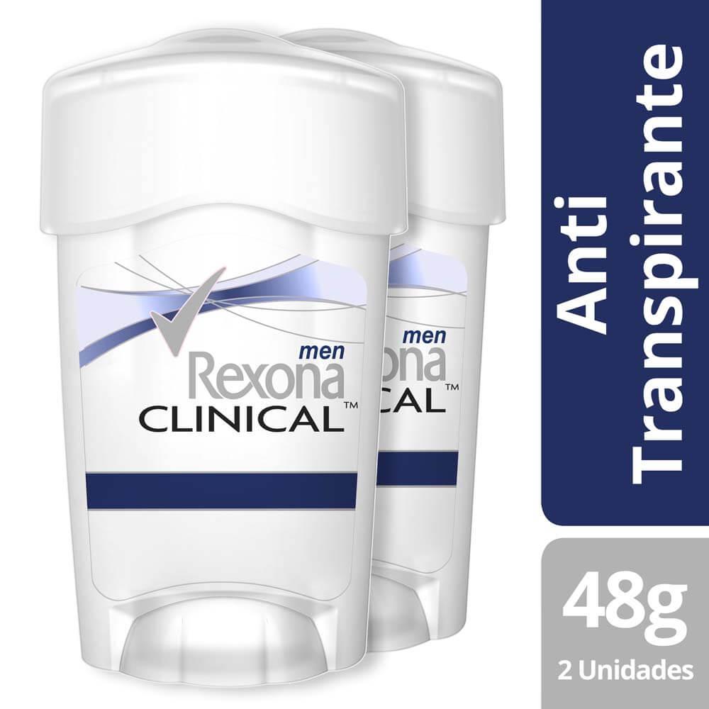 rexona clinical desodorante crema men clean x 2 unidades