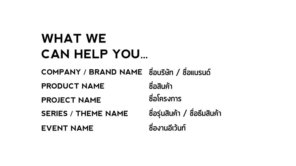 คิดชื่อแบรนด์และสินค้า Naming Service for Business and Brand