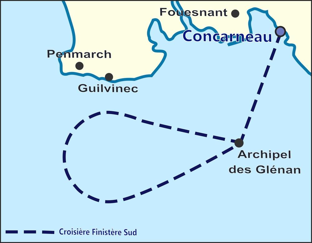 Carte de la croisière. Au départ de Concarneau, partez à la rencontre des dauphins, baleines et oiseaux marins de l'Atlantique