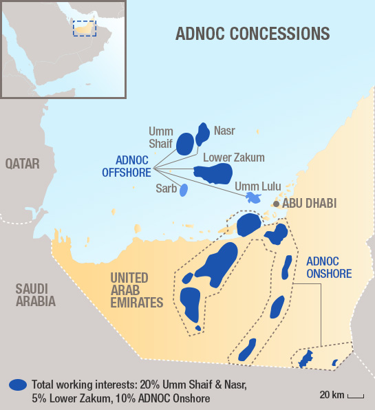 Abu Dhabi: Total consolidates its strategic partnership with ADNOC by being awarded participating interests in two new 40-year Offshore Concessions on Umm Shaif & Nasr (20%) and Lower Zakum (5%)(press release)