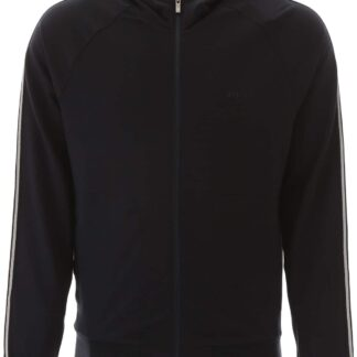 Z ZEGNA HOODIE WITH RUBBER LOGO S Blue Cotton