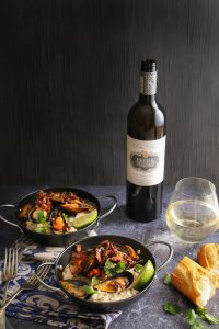 Food and wine pairing with Fleur du Cap Series Privee Sauvignon Blanc white wine and Mussels & Chorizo Risotto seafood