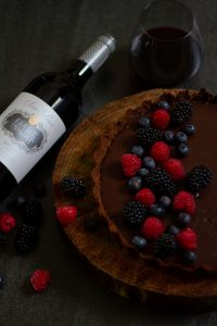 Food and Wine pairing with Fleur du Cap Series Privee Merlot red wine and chocolate mint and ginger tart dessert.
