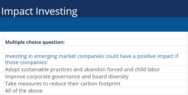 Impact Investing multiple choice question