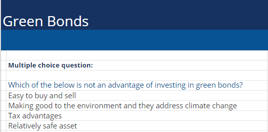 Green Bonds Multiple Choice Question Example