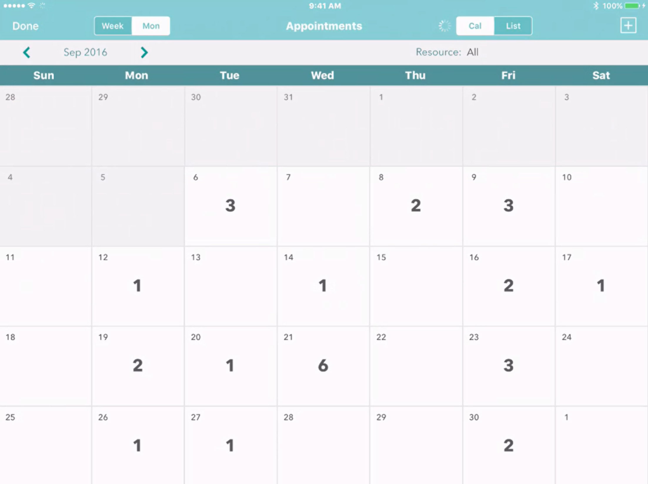 monthly appointment calendar app