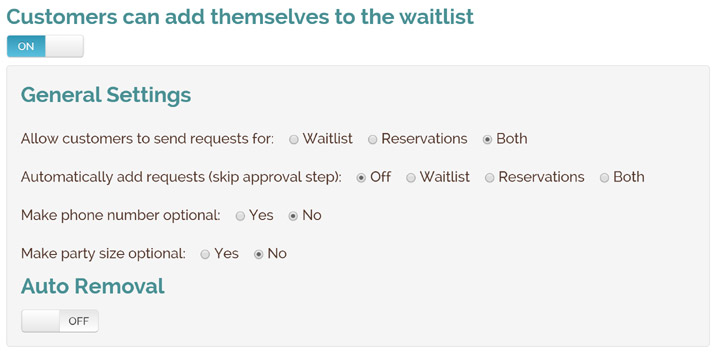 reservations settings
