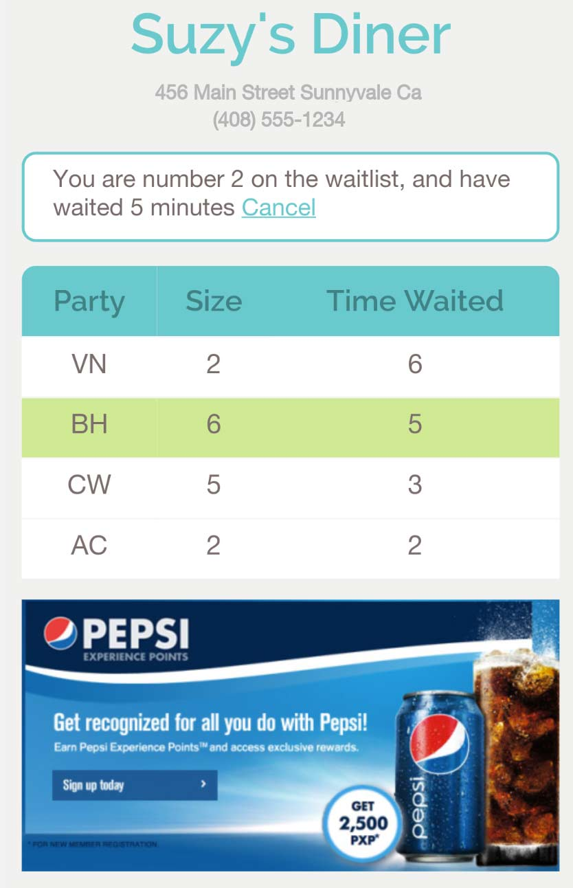 public waitlist HTML phone
