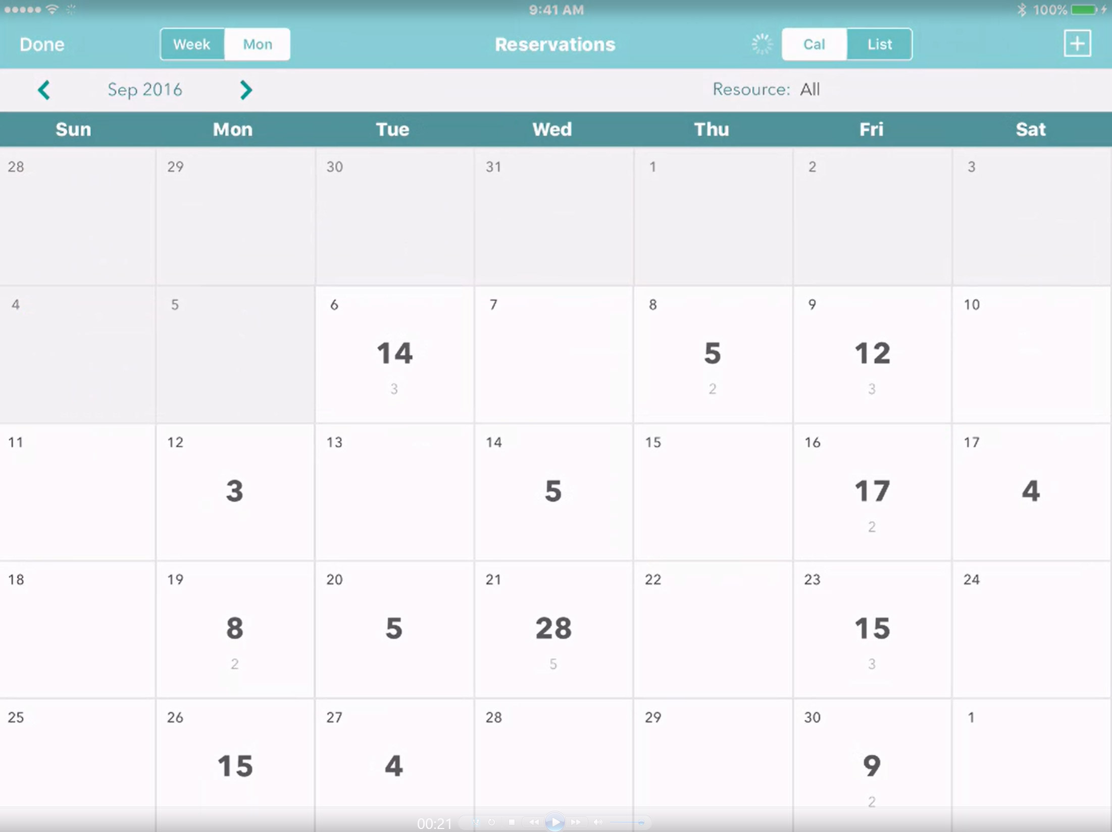 monthly reservations calendar app