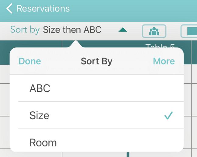 Reservation sort menu