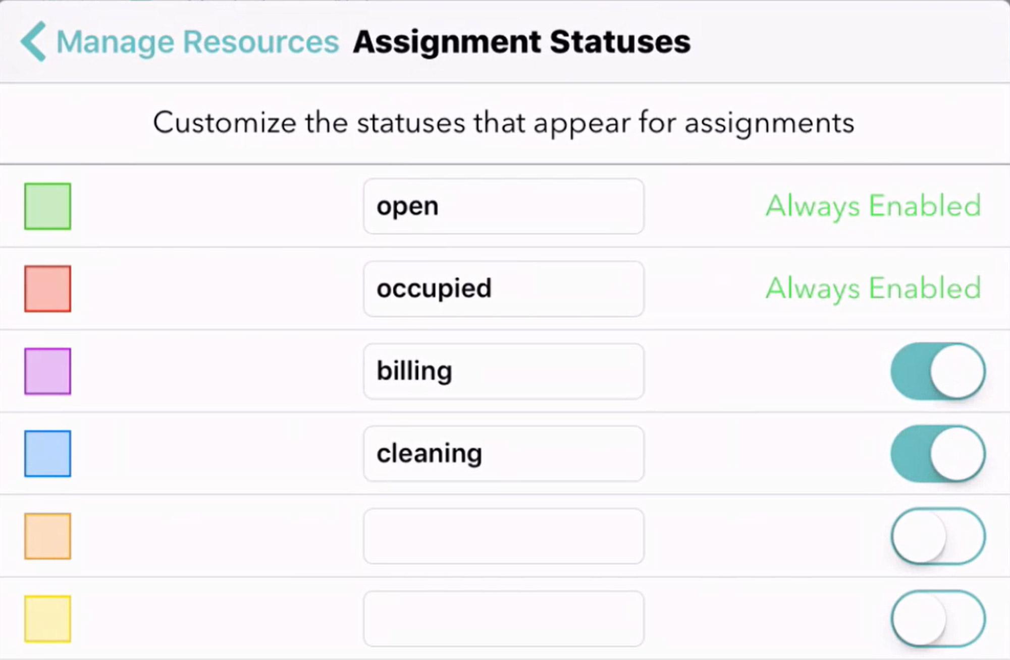 status settings