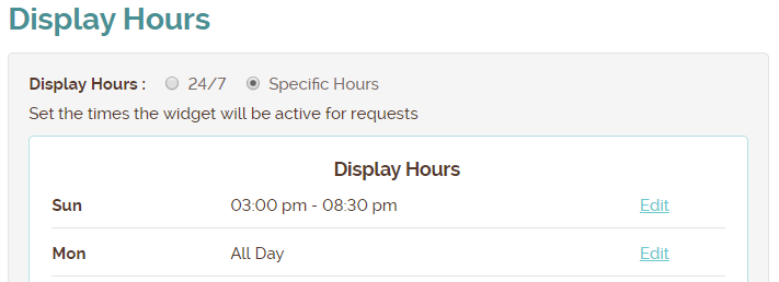 display hours
