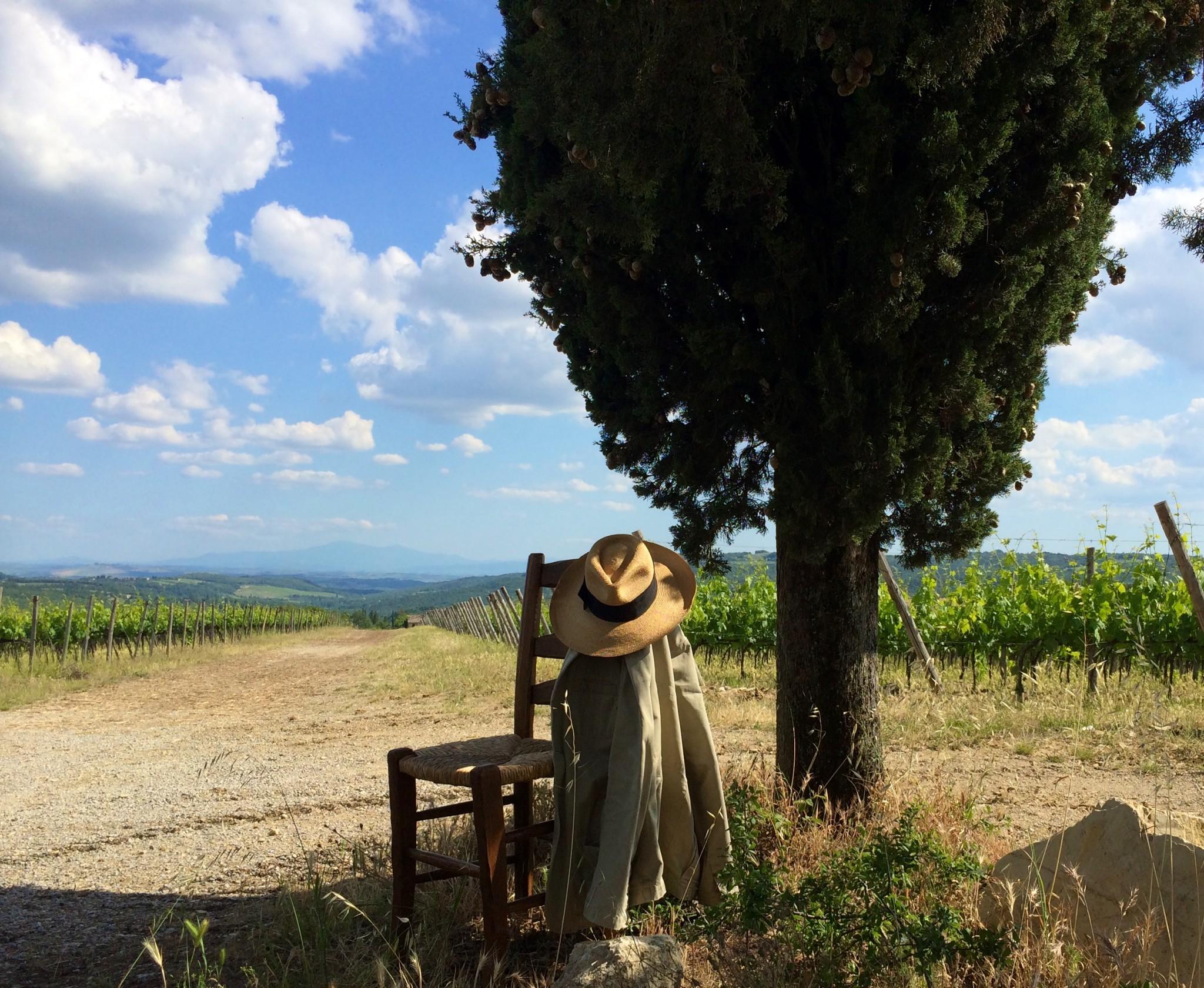 brunello di Montalcino, panorama con sedia e cappello toscano