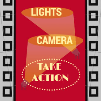 Lights  camera  take action logo