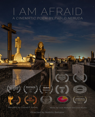 I am afraid poster vertical with text english