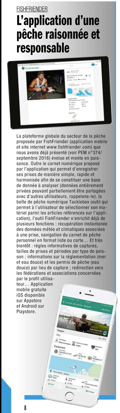 Article présentant l'application FishFriender dans le magazine 'Pêche en mer' n°378