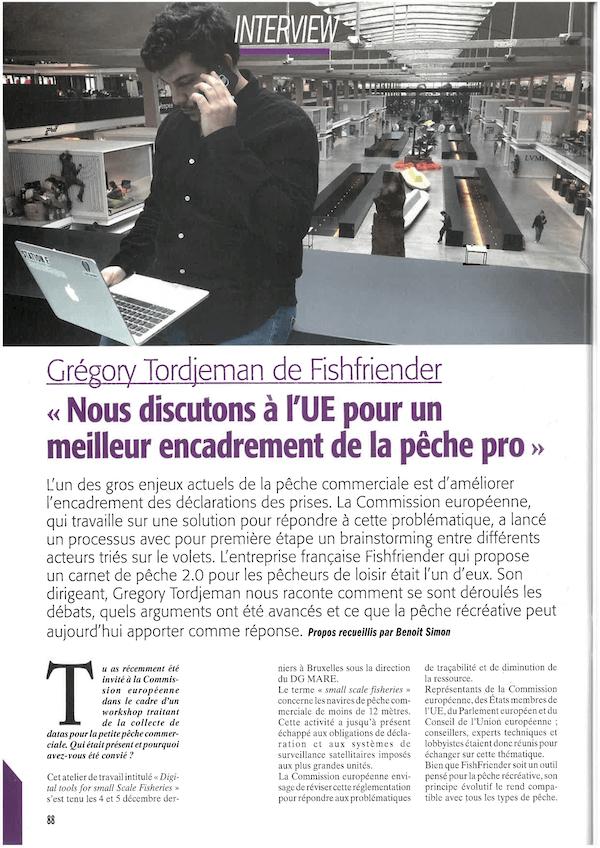 Article présentant l'application FishFriender dans le magazine 'Pêche en mer' n°404 - Page 1