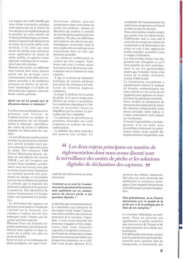 Article présentant l'application FishFriender dans le magazine 'Pêche en mer' n°404 - Page 2