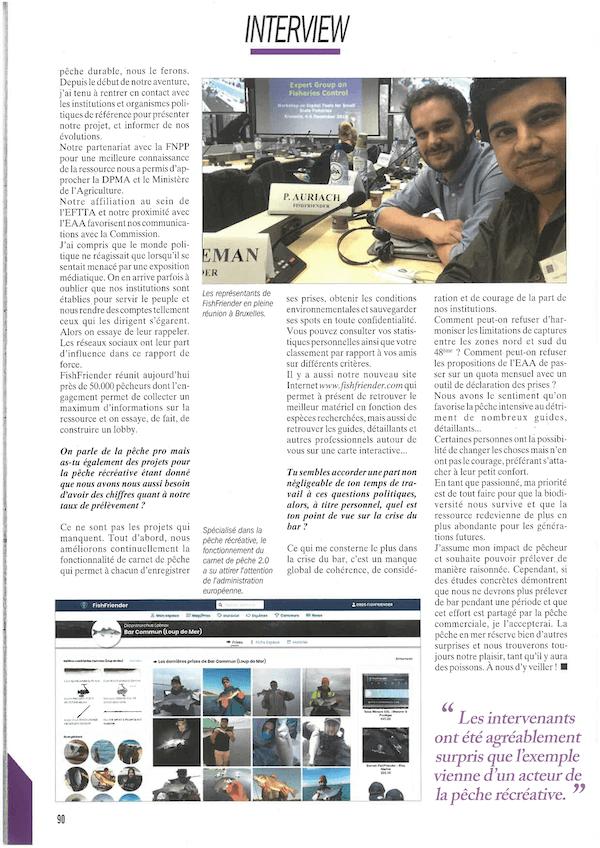 Article présentant l'application FishFriender dans le magazine 'Pêche en mer' n°404 - Page 3