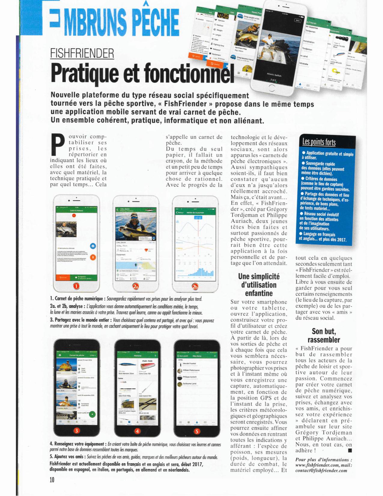 Article présentant l'application FishFriender dans le magazine 'Pêche en mer' n°374