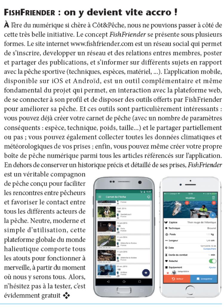 Article présentant l'application FishFriender dans le magazine 'Cot& Pêche' n°42