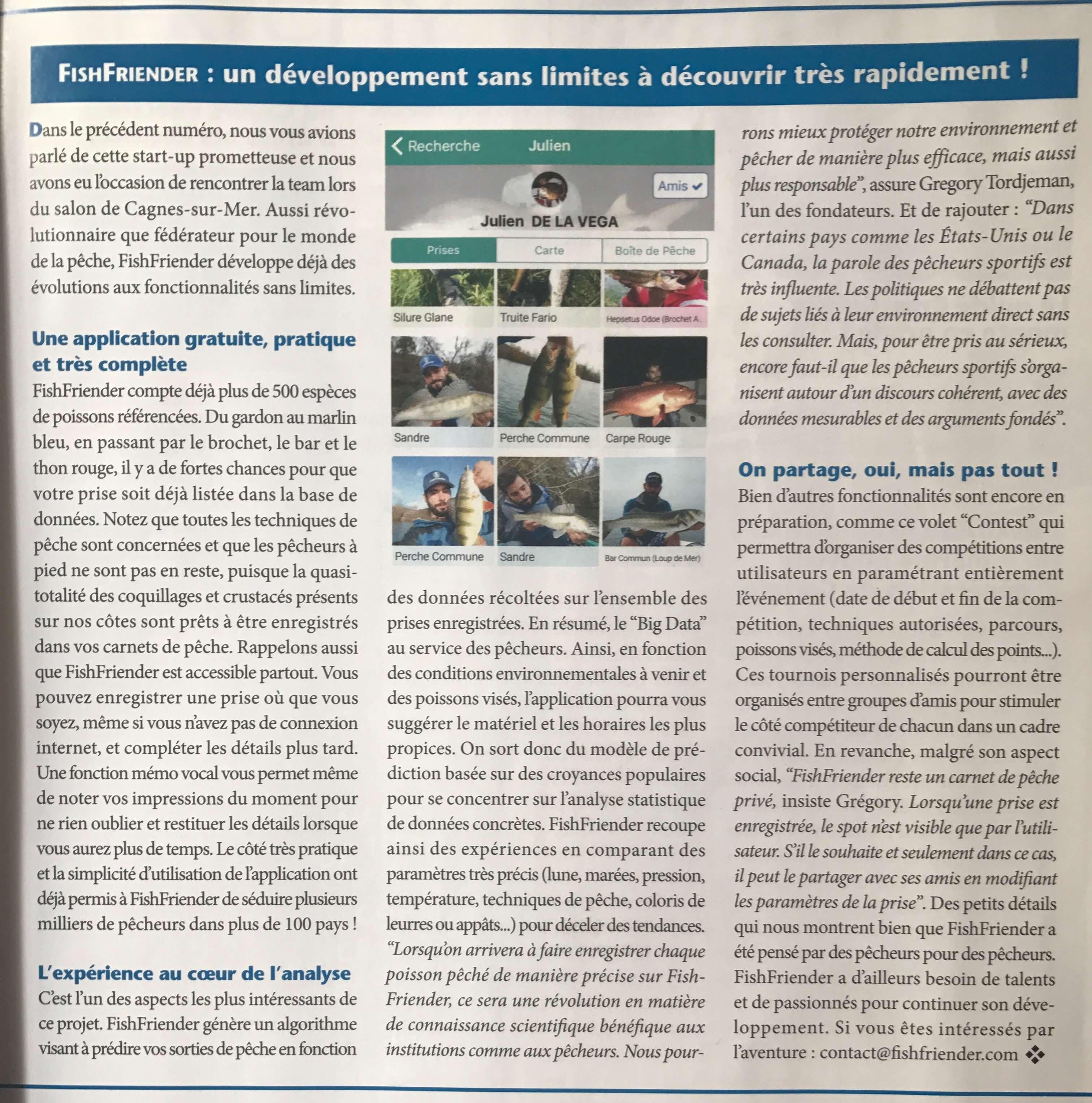 Article présentant l'application FishFriender dans le magazine 'Cot& Pêche' n°43