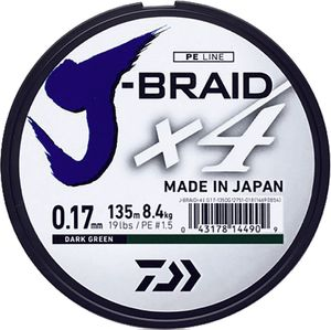 J BRAID X 4 25/100 135 M VERT