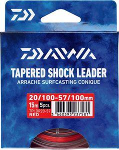 Leaders Daiwa ARRACHÉ SURF TAPER LEADER 15M X 5 0,18 / 0,57 ROUGE 15M