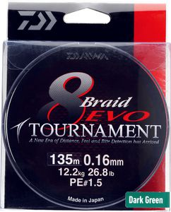 Lines Daiwa TOURNAMENT 8 BRAID EVO 20/100 135 M VERT