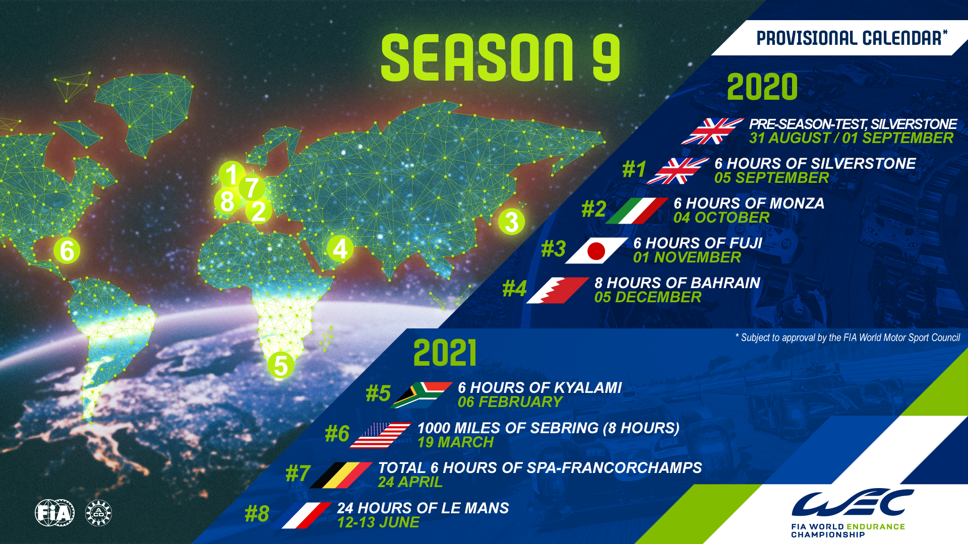 2020 2021 FIA WEC provisional calendar revealed   FIA World Endurance
