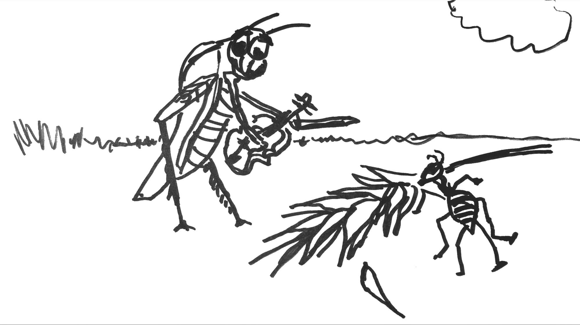 the ant and the grasshoper The story of the ant and the grasshopper talks about hard work and laziness a lazy grasshopper while away his time in the spring season, while the ants li.