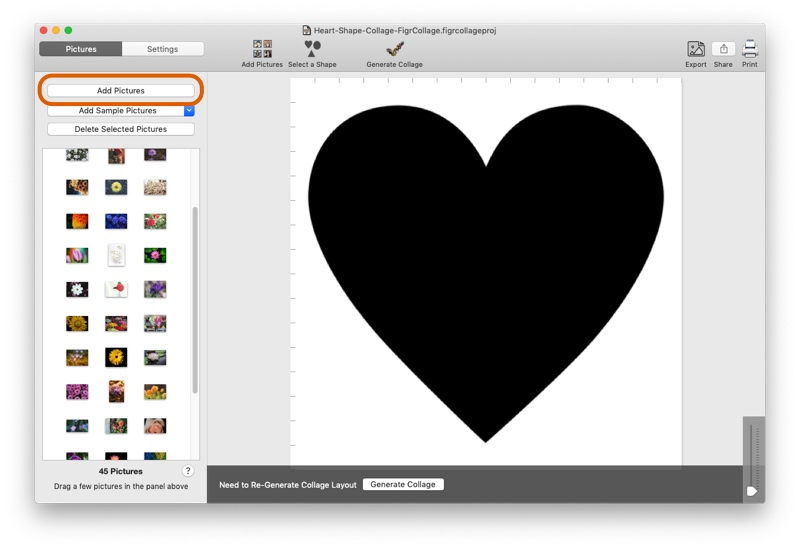 Add pictures to use in Heart collage