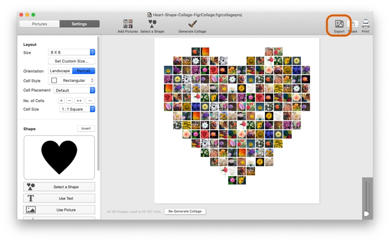 Export heart collage to a JPG and print it
