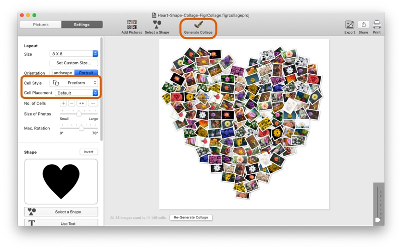 Generate Heart Shape Collage