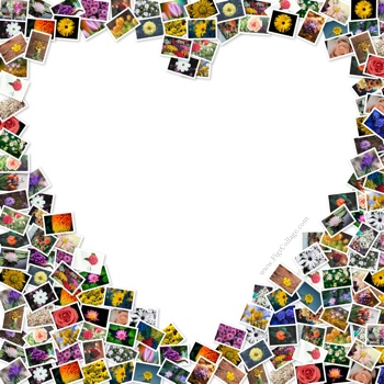 Heart photo pile collage with pictures placed outside the heart shape