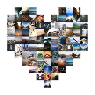 Heart shape picture collage