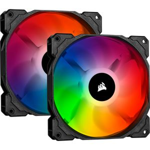 CORSAIR ICUE SP140 RGB PRO PERFORMANCE 140MM TWIN PACK WITH LIGHTING NODE CORE *พัดลม