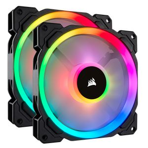CORSAIR LL140 RGB 140MM DUAL LIGHT LOOP RGB PWM TWIN PACK WITH LIGHTING NODE PRO *พัดลม