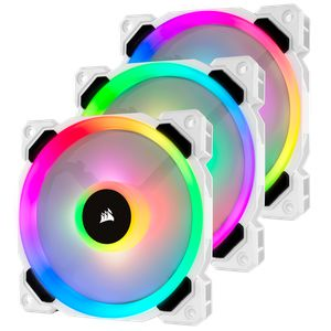 CORSAIR LL120 RGB 120MM DUAL LIGHT LOOP WHITE RGB PWM 3 FANS PACK WITH LIGHTING NODE PRO *พัดลม