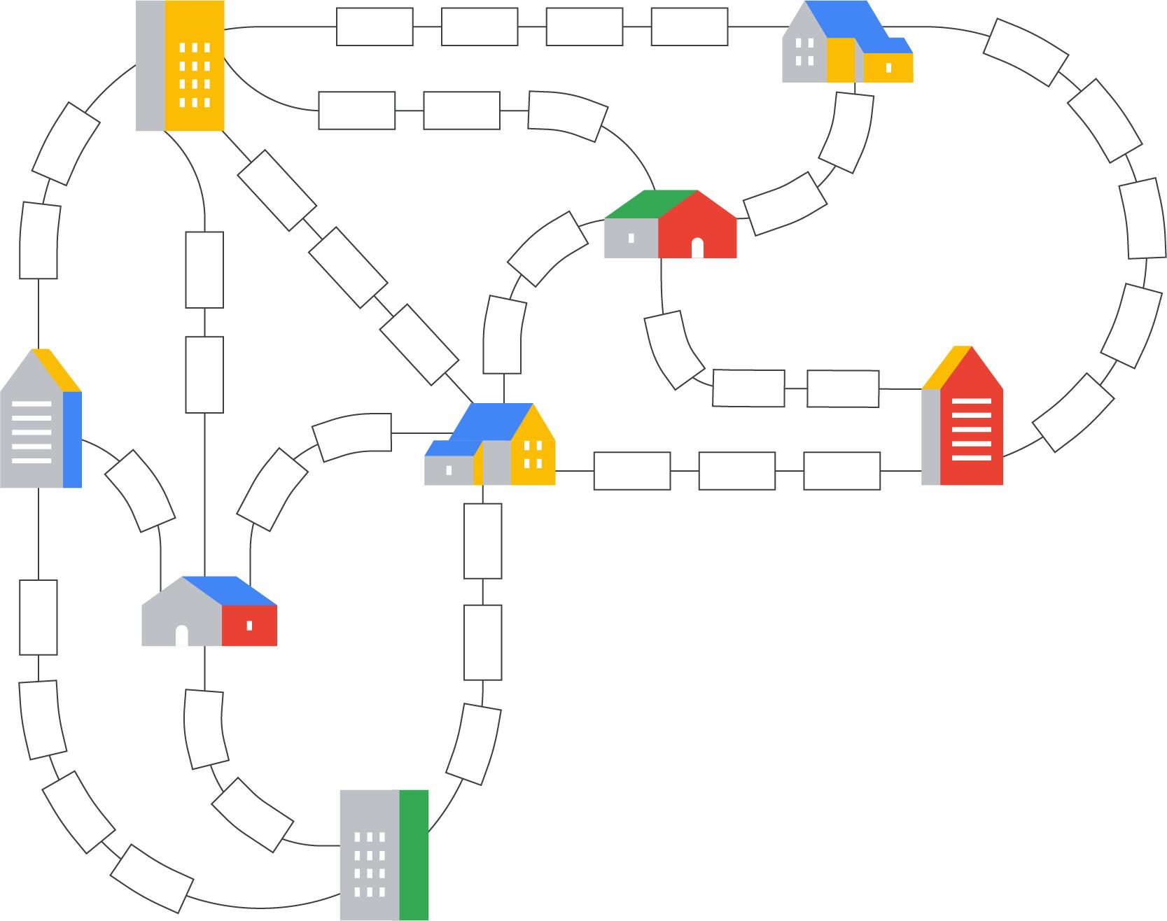 Mapa de edificios conectados con caminos