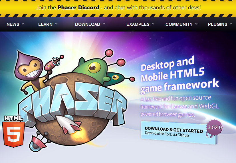 PhaserJS Game Framework Homepage