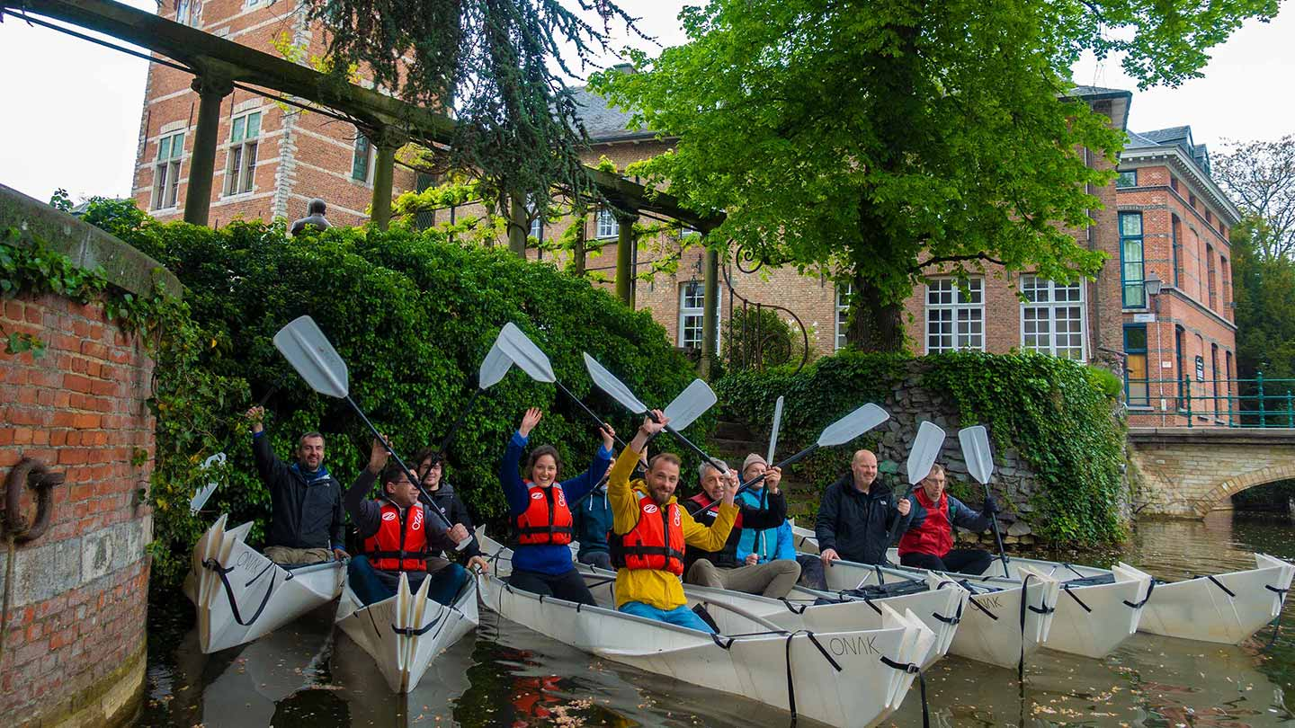 Happy ONAK foldable canoe paddlers gathering together in Lier Belgium Spring 2018