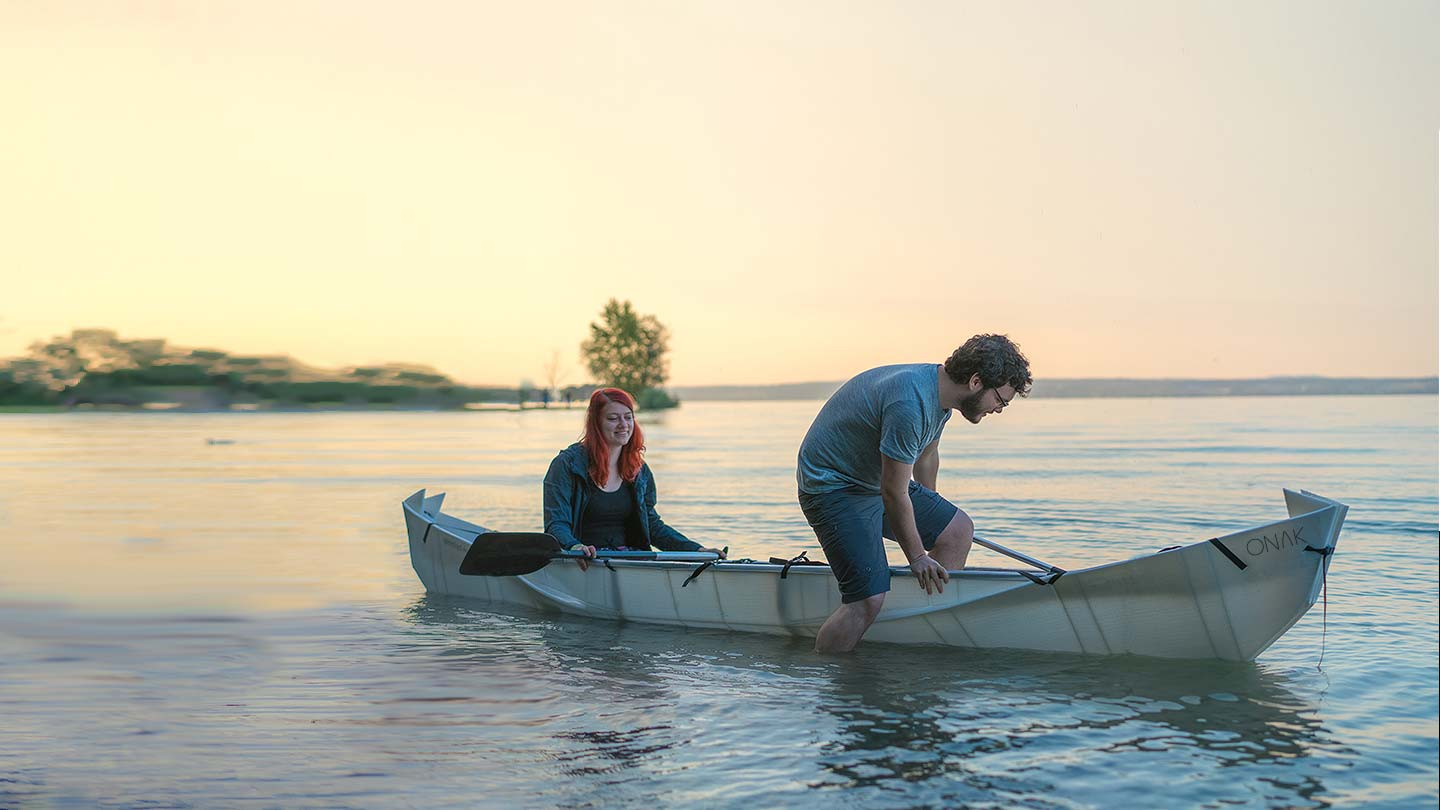 Love and romance in the ONAK origami foldable canoe on the Bodensee in Friedrichshafen Germany
