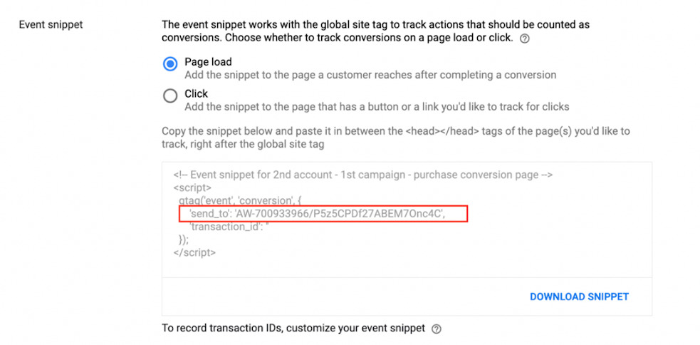 Google Event Code Snippet