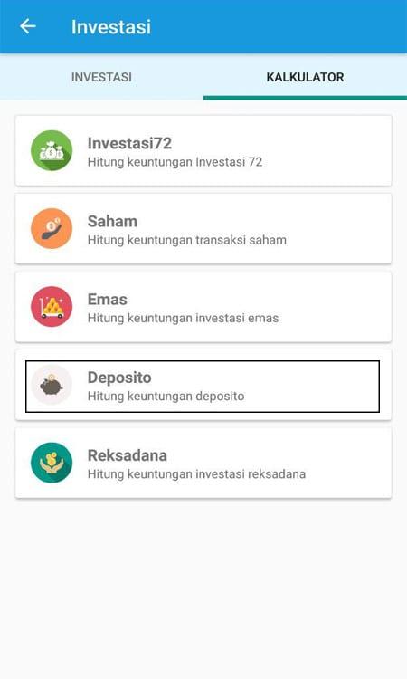 Investasi (Menghitung Deposito) Aplikasi Finansialku 2